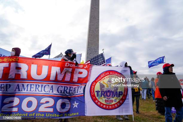 "Crowds from the pro-Trump Chinese American Alliance For Trump gather for the ""Stop the Steal"" rally on January 06, 2021 in Washington, DC. Trump..."