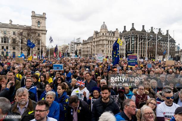 Crowds gather after the march to listen to speakers at a rally organised by the proEuropean People's Vote campaign for a second EU referendum in...