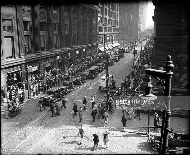 Crowds gather around the Chicago Federal Building on the first day of the Al Capone trial on Oct 6 1931