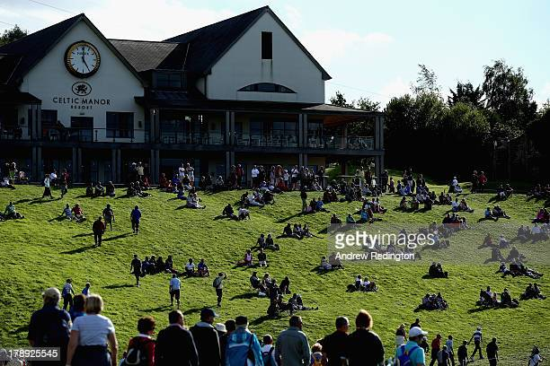 Crowds gather around the clubhouse and 18th green during the third round of the ISPS Handa Wales Open on the Twenty Ten course at The Celtic Manor...