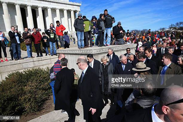 Crowds gather as Camilla Duchess of Cornwall and Prince Charles Prince of Wales visit the Lincoln Memorial on the second day of a visit to the United...