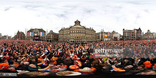 Crowds gather as King Willem-Alexander of the Netherlands, Queen Maxima of the Netherlands and their daughters Princess Catharina Amalia, Princess...