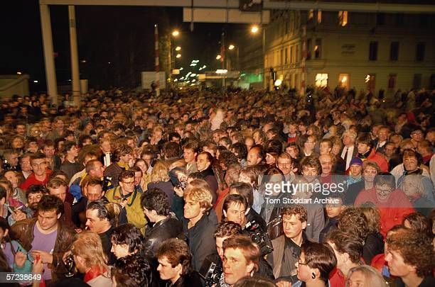 Crowds gather at Check Point Charlie on the night of November 9th when East Berliners were allowed to cross into the west for the first time Hours...