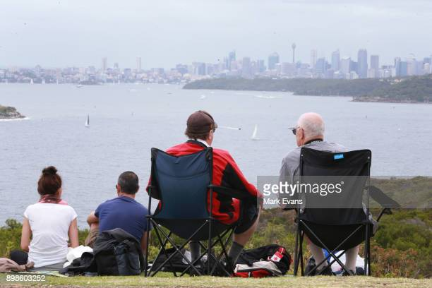 Crowds gather at North Head to watch the start of the 2017 Sydney to Hobart Yacht Race on December 26 2017 in Sydney Australia