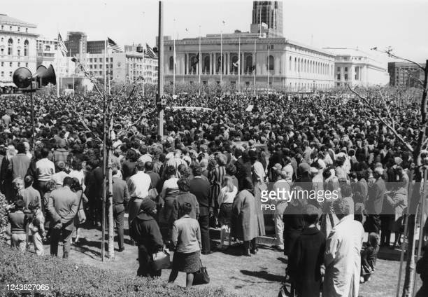Crowds gather at the Civic Center in San Francisco to pay tribute to assassinated civil rights leader Martin Luther King Jr, 5th April 1968. King had...