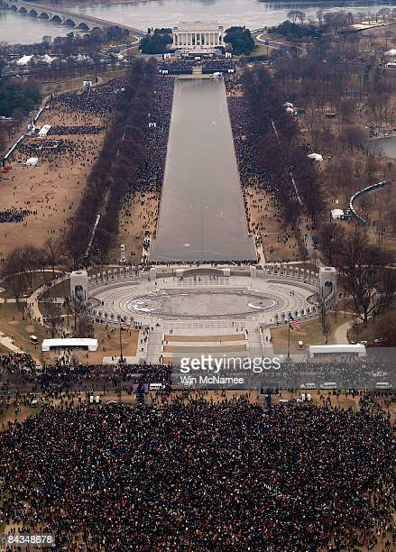 Crowds gather at the Lincoln Memorial on the National Mall for the opening ceremony of the inauguration of US Presidentelect Barack Obama on January...