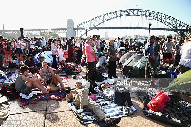 Crowds gather at the Sydney Opera House on New Year's Eve on Sydney Harbour on December 31 2015 in Sydney Australia