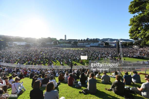 Crowds gather at the Wellington Vigil held at the Basin Reserve on March 17 Wellington New Zealand 50 people are confirmed dead with 36 injured still...