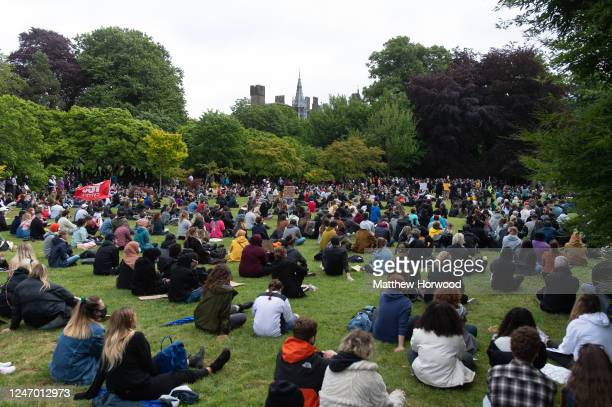 Crowds gather for a Black Lives Matter protest in Bute Park on June 06, 2020 in Cardiff, United Kingdom. The death of an African-American man, George...