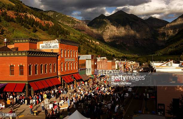 Crowds gather for opening day of the 28th Telluride Film Festival August 28 2001 in Telluride CO
