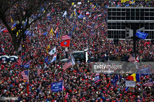 "Crowds gather for the ""Stop the Steal"" rally on January 06, 2021 in Washington, DC. Trump supporters gathered in the nation's capital today to..."
