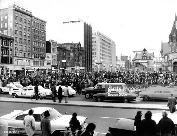 Crowds gather in Boston's Copley Square prior to a march protesting a visit to the city by Vice President Spiro T Agnew on March 18 1971 Agnew was in...