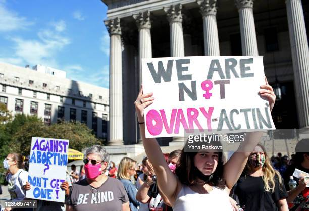 Crowds gather in Foley Square for the Women's March on October 2, 2021 in New York City. The Women's March and other groups organized marches across...