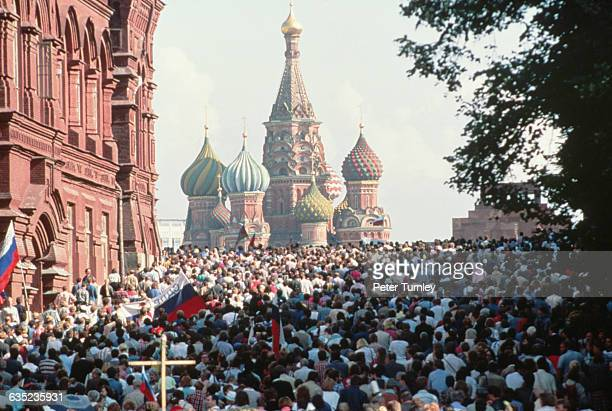 Crowds gather in Red Square to celebrate the failure of the attempted coup by Soviet hard-liners.