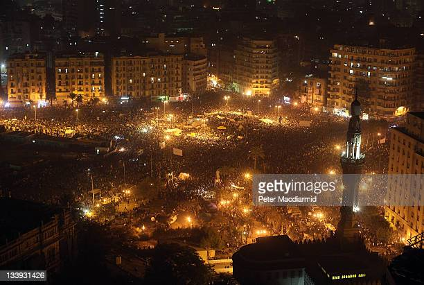 Crowds gather in Tahrir Square on November 22 2011 in Cairo Egypt Thousands of Egyptians have been gathering in Tahrir Square after three days of...