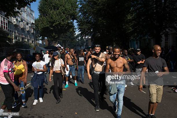 Crowds gather in the evening light on Monday 28th August 2016 at the 50th Notting Hill Carnival in West London A celebration of West Indian /...