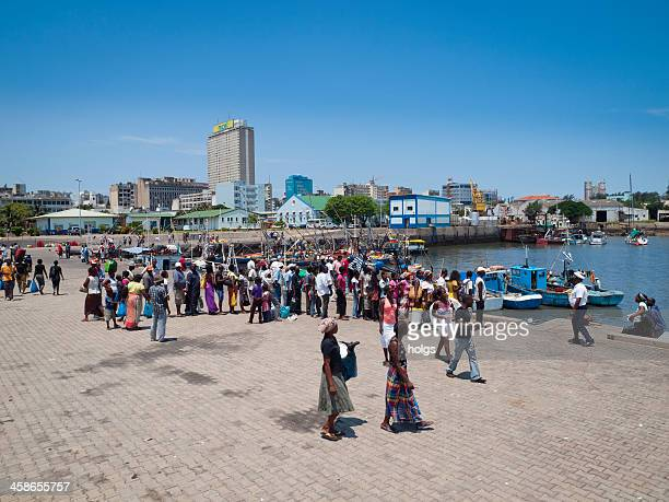 Crowds gather in the Maputo harbour