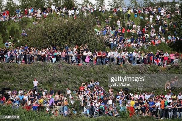 Crowds gather in the Olympic Park on Day 9 to watch Andy Murray on big screens win his gold medal in the Men's Singles Tennis match on Day 9 of the...