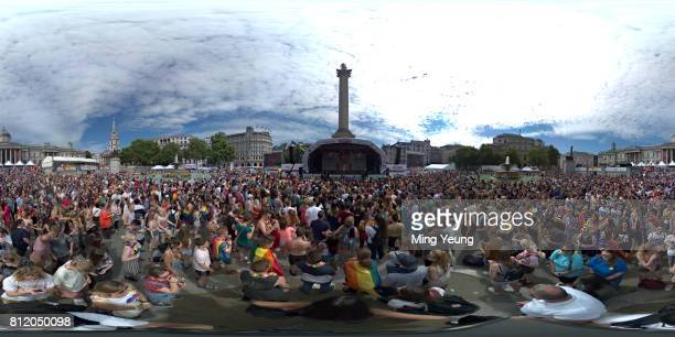 Crowds gather in Trafalgar Square to enjoy the entrainment celebrating Pride on July 8, 2017 in London, England.