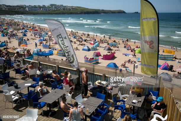 Crowds gather on Fistral Beach on the second day of the Boardmasters surf and music festival in Newquay on August 7 2014 in Cornwall England Since...