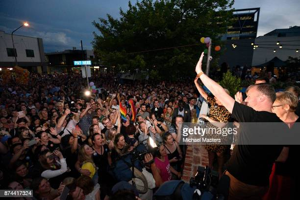 Crowds gather on Lonsdale Street in Canberra to celebrate the results of the samesex marriage survey and to listen to members of parliament including...