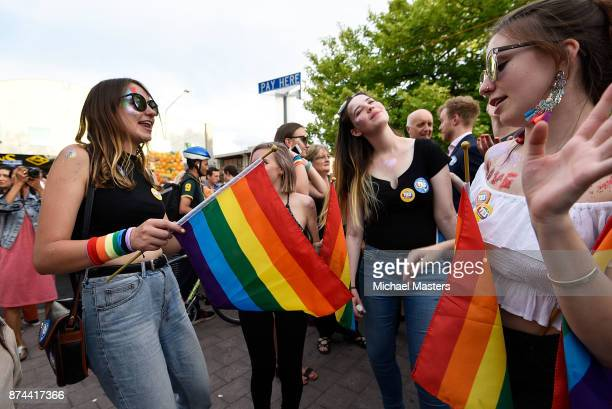 Crowds gather on Lonsdale Street in Canberra to celebrate the results of the samesex marriage survey on November 15 2017 in Canberra Australia...