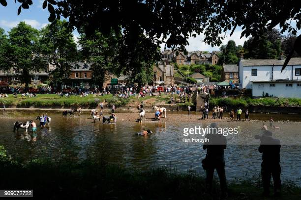 Crowds gather on the banks of the River Eden to watch as horses are washed on the first day of the Appleby Horse Fair on June 7 2018 in Appleby...