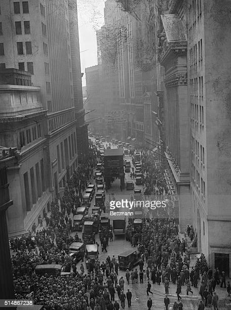 Crowds gather on Wall Street four days before the Stock Market Crash of 1929