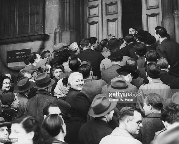 Crowds gather outside Clerkenwell Magistrates Court in London hoping to attend the hearing in which John Reginald Christie will be charged with the...