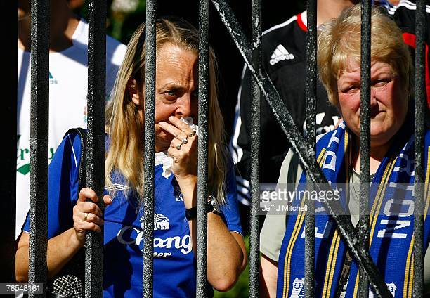 Crowds gather outside Liverpool Cathedral for the funeral of school boy Rhys Jones on September 6 2007 in Liverpool England 11 year old Rhys Jones...