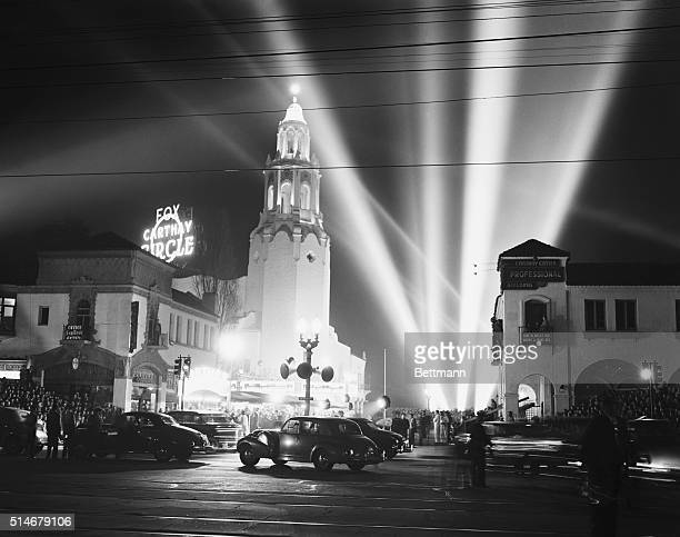 Crowds gather outside the Carthay Circle Theater on January 30 for the premiere of Walt Disney's experimental animated motion picture Fantasia
