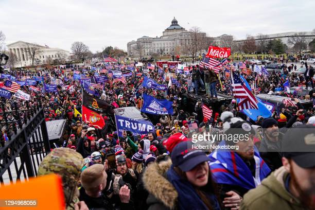 "Crowds gather outside the U.S. Capitol for the ""Stop the Steal"" rally on January 06, 2021 in Washington, DC. Trump supporters gathered in the..."