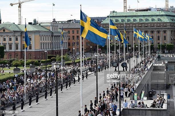 Crowds gather prior the wedding cortege following the wedding ceremony of Prince Carl Philip of Sweden and Princess Sofia of Sweden on June 13 2015...