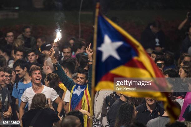 Crowds gather to await the result of the Independence Referendum at the Placa de Catalunya on October 1 2017 in Barcelona Spain More than five...