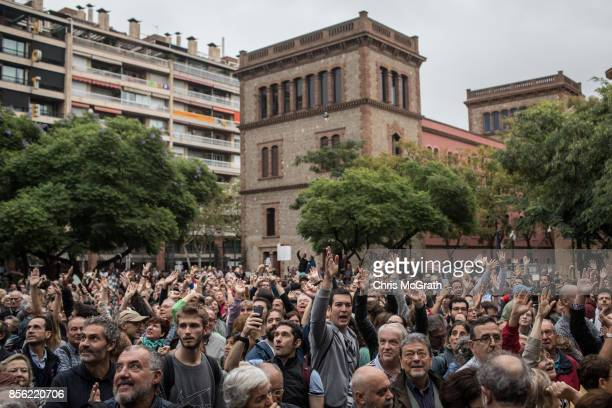Crowds gather to cast their ballot in the referendum vote at Escola Industrial of Barcelona school polling station on October 1 2017 in Barcelona...