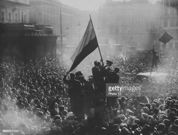 Crowds gather to celebrate the proclamation of the Second Republic Spanish April 14th 1931
