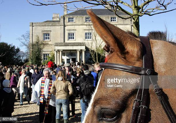 Crowds gather to see the start of the Avon Vale Hunt at Monk's Park on February 19 2005 near Corsham Wiltshire England Some hunts are abiding to the...