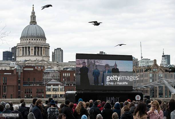 Crowds gather to watch a film of 'Hamlet' on the Southbank opposite St Paul's Cathedral as part of 'The Complete Walk' as celebrations take place...