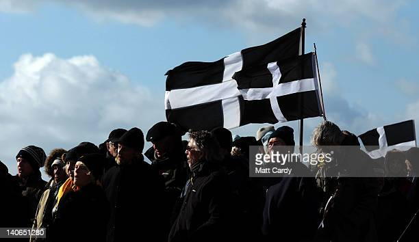 Crowds gather to watch the annual processional play to celebrate St Piran patron saint of tinners and regarded by many as Cornwall's premier saint on...