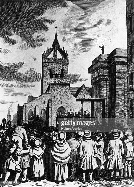 Crowds gather to watch the execution of Scottish serial killer William Burke at the Lawnmarket Edinburgh 28th January 1829 Burke with his accomplice...