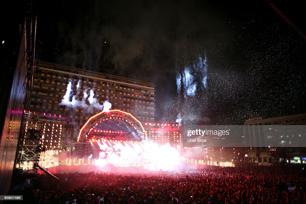 Crowds gather to watch the fireworks at a free concert to mark the 100th anniversary of Tel Aviv at Rabin Square on April 4, 2009 in Tel Aviv, Israel. Tens of thousands of people gathered in the square to watch a free concert and firework display to kick off the city's centenary celebrations. Tel Aviv, the second largest city in Israel was founded in 1909. It has developed into Israels wealthiest city and a popular desitnation for tourists.