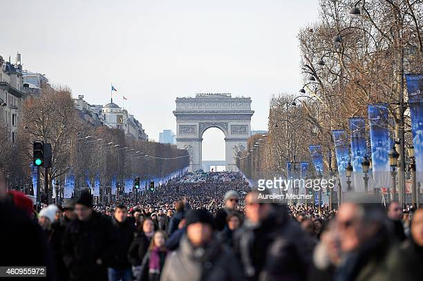 Crowds gather to watch the New Year's Day Parade held on Avenue des Champs Elysees organised by Marcel Campion's association 'Le Monde Festif' to...