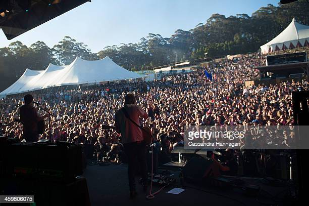 Crowds gather to watch The Rubens play during Falls Festival on December 31 2013 in Lorne Australia