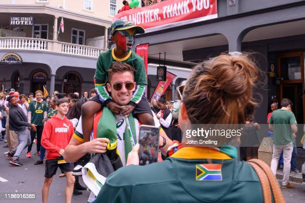 Crowds gather to watch the Springboks during the Rugby World Cup 2019 Champions Tour on November 11, 2019 in Cape Town, South Africa.