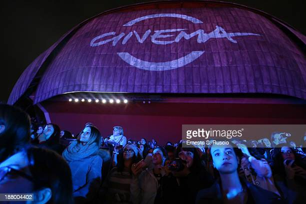 Crowds gather to watch the 'The Hunger Games Catching Fire' Premiere during The 8th Rome Film Festival at Auditorium Parco Della Musica on November...