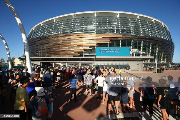 Crowds gather waiting for the official opening at Optus Stadium on January 21, 2018 in Perth, Australia. The 60,000 seat multi-purpose Stadium...