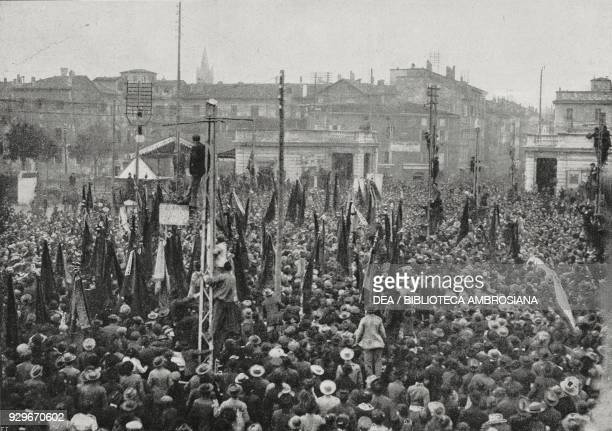 Crowds gathered in Piazza Garibaldi Socialist victory in Parma Italy photograph by Battei from L'Illustrazione Italiana Year XL No 45 November 9 1913