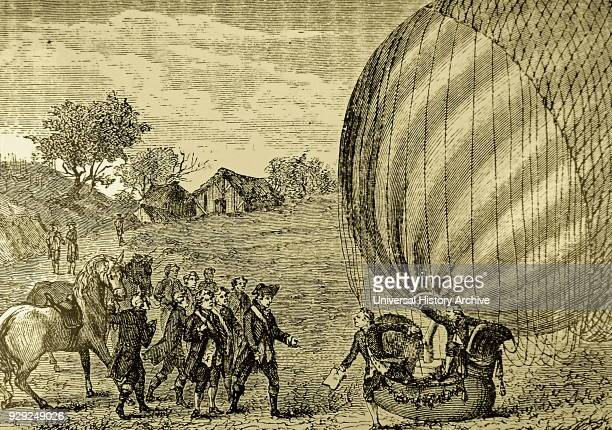 Crowds gathered in the Champs de Mars to watch the landing of the first successful hydrogen filled balloon Dated 18th Century