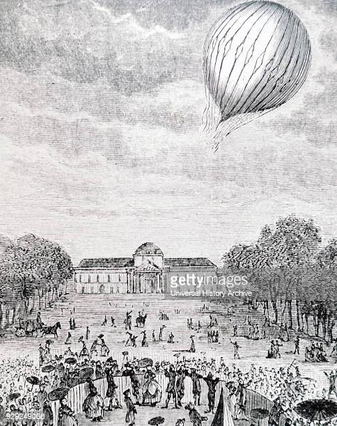 Crowds gathered in the Champs de Mars to watch the release of the first successful hydrogen filled balloon Dated 18th Century