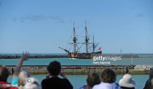 Crowds greet the HMB Endeavour replica as it arrives into Gisborne Harbor on October 08 2019 in Gisborne New Zealand This year marks 250 years since...